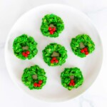 wreath cookies on white plate