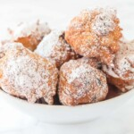 new years cookies piled high in white bowl