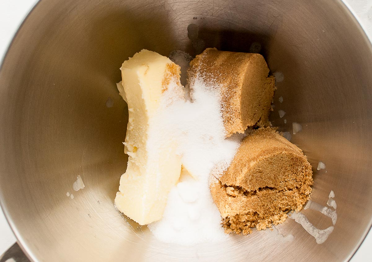 Butter, sugar, and brown sugar in a mixing bowl