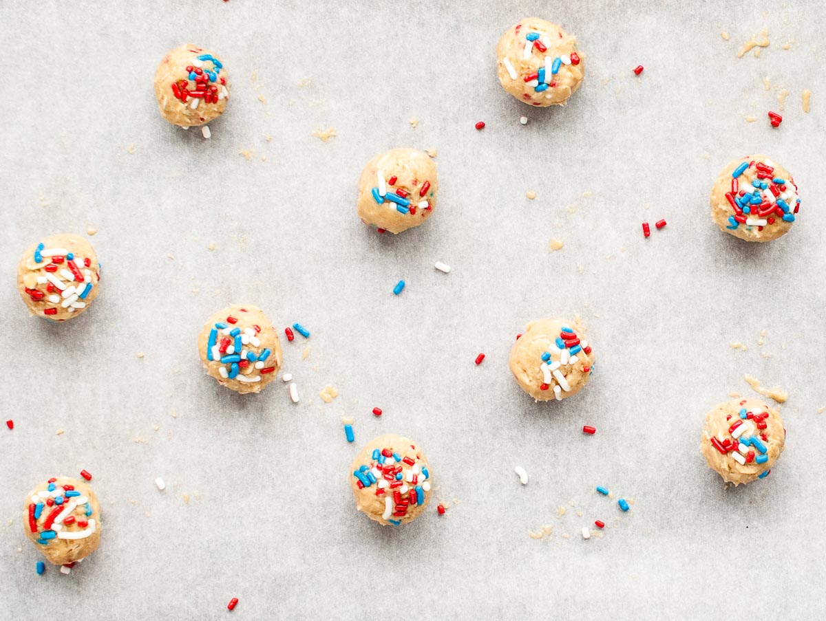 scoops of cookie dough with red white and blue sprinkles