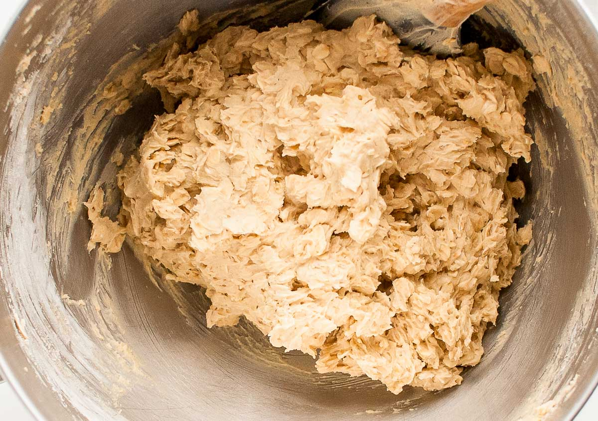 oatmeal cookie dough in a mixing bowl