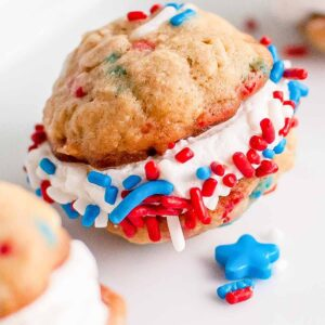 oatmeal cookie sandwich with red white and blue sprinkles
