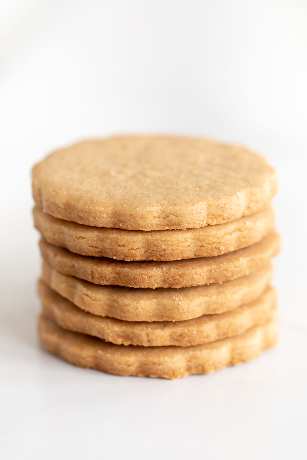 six peanut butter shortbread cookies in a stack