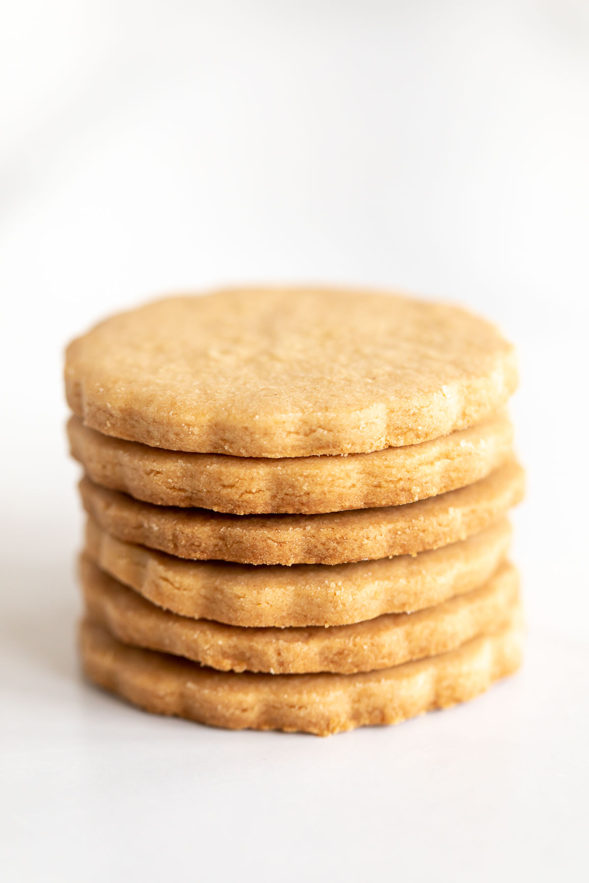 stack of peanut butter shortbread cookies