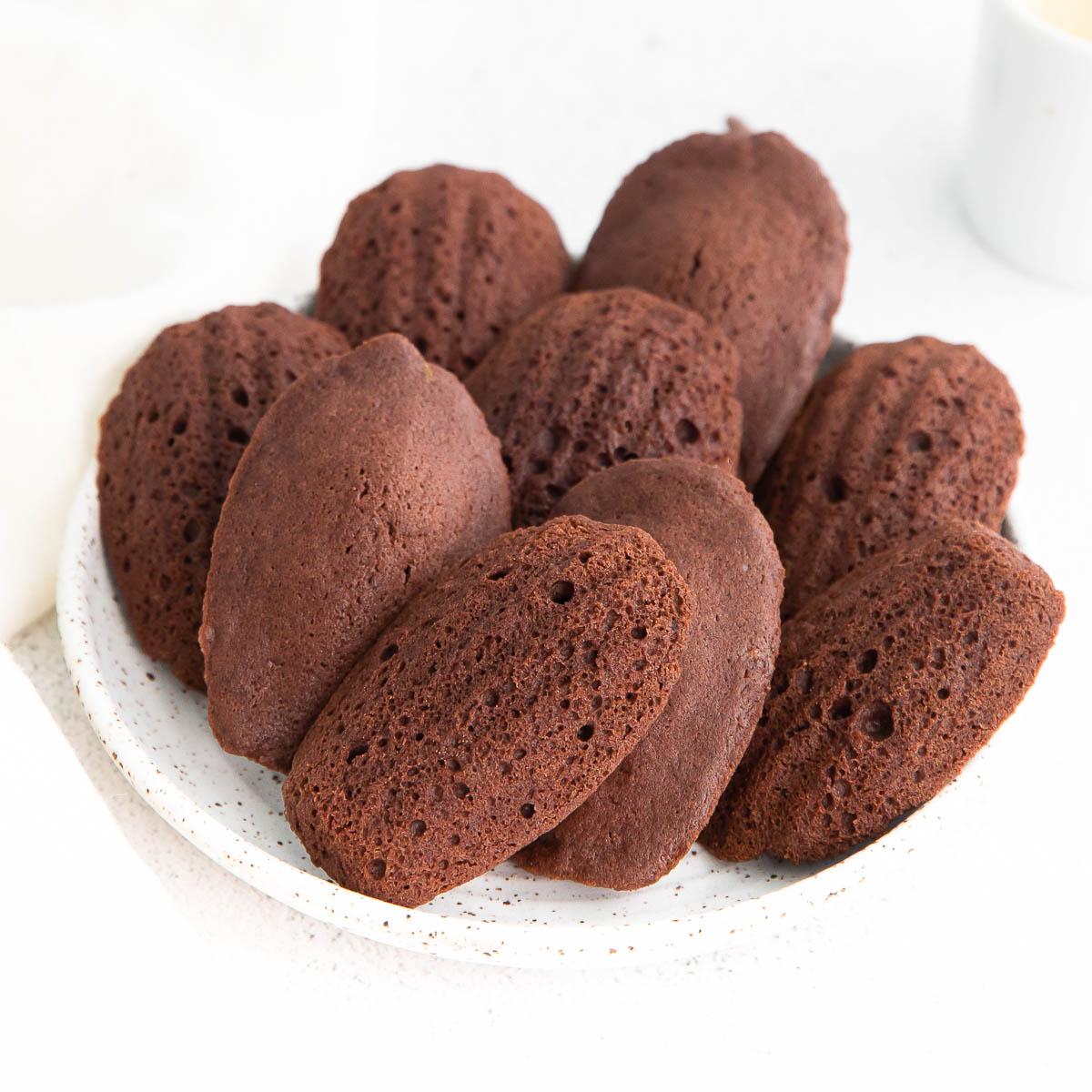 white dish of chocolate madeleines