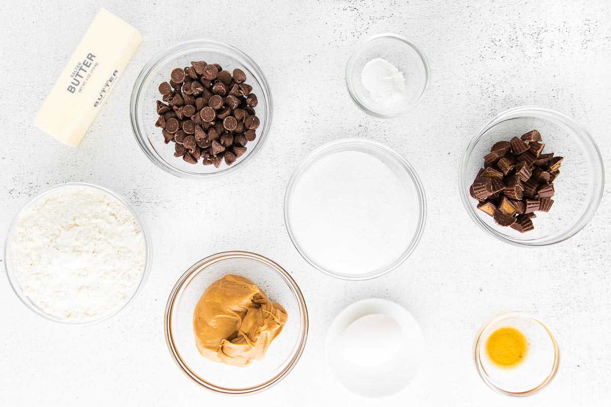 ingredients for peanut butter cup cookies