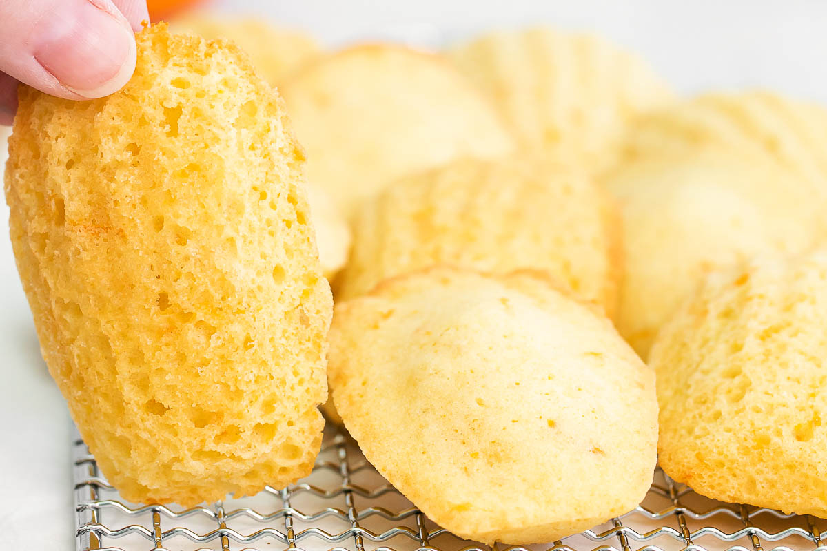 close up of orange madeleines