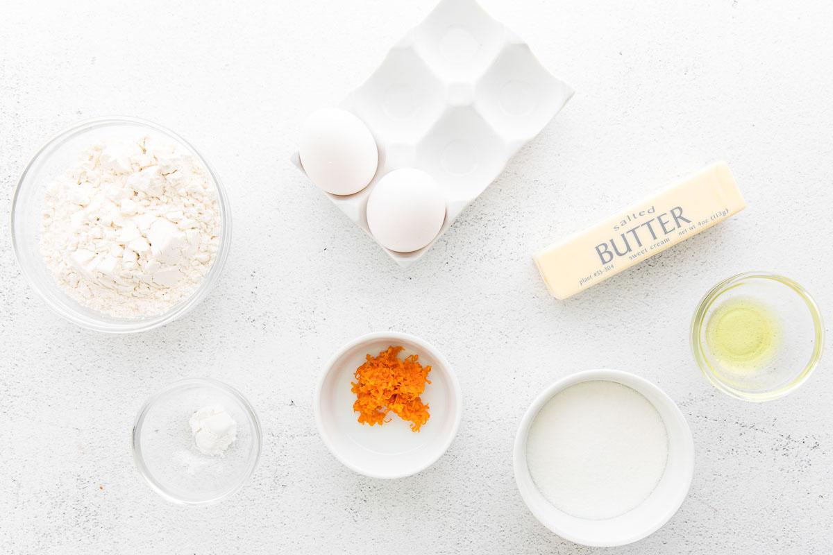 ingredients for orange madeleines
