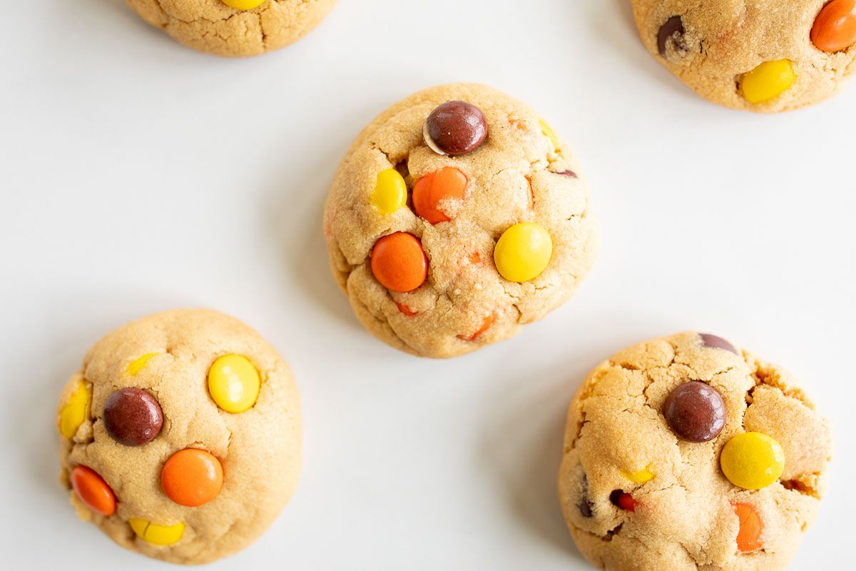 reeses pieces cookies on a white background