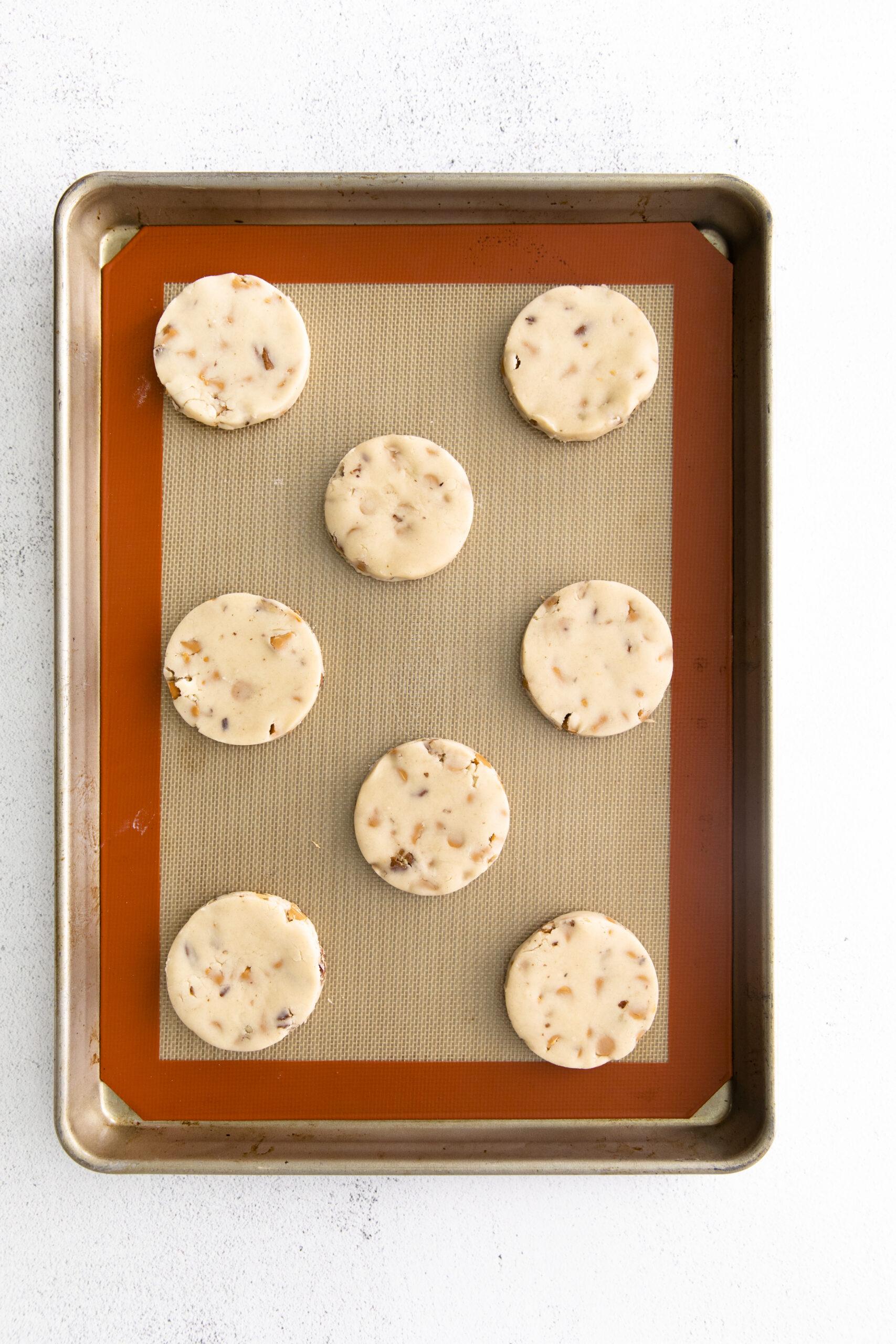 butterscotch cookie dough on sheet