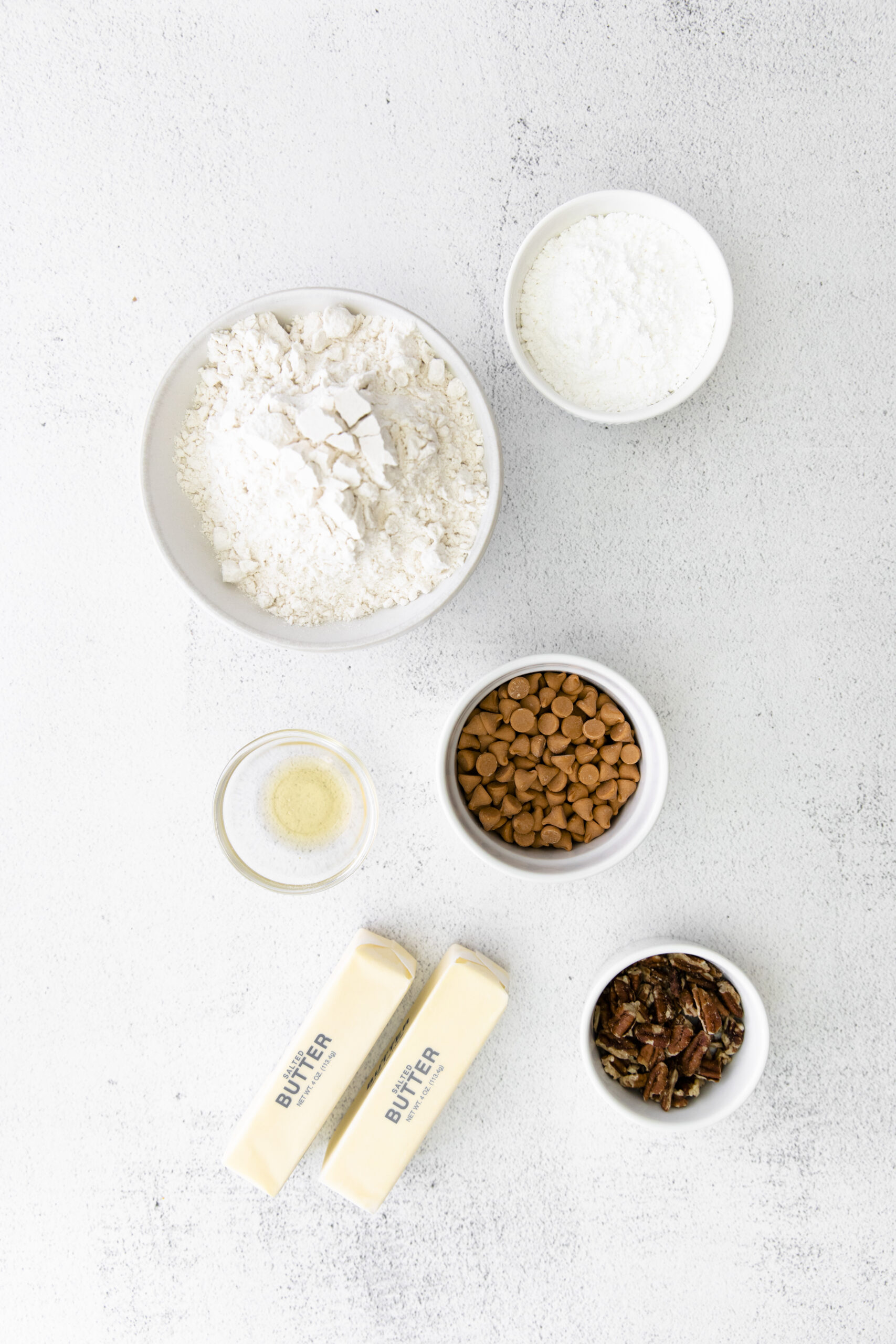 ingredients for butterscotch shortbread cookies