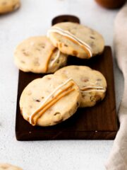 Butterscotch shortbread cookies on a wooden tray.