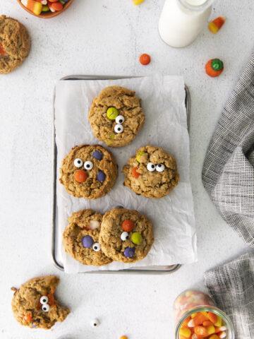 halloween monster cookies on tray