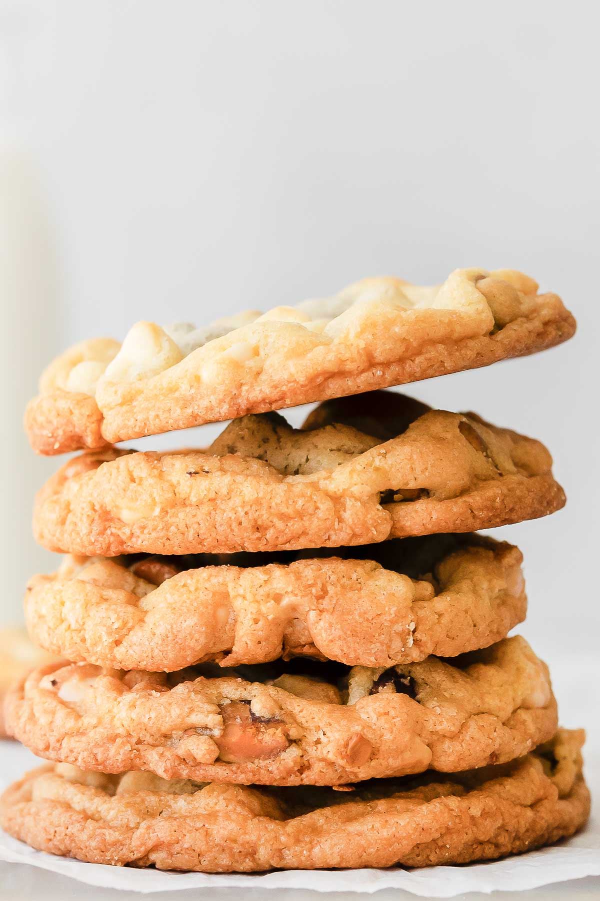 stack of white chocolate pistachio cookies