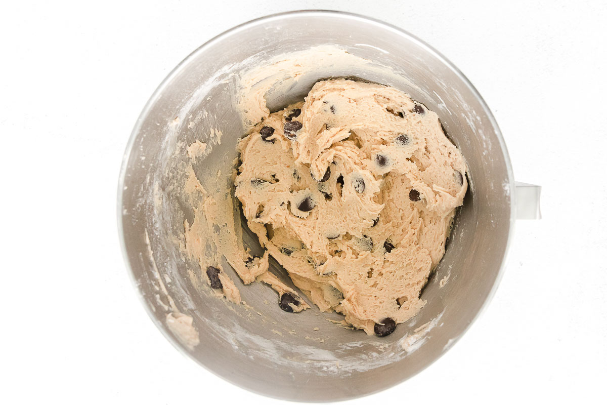 chocolate chips mixed in dough