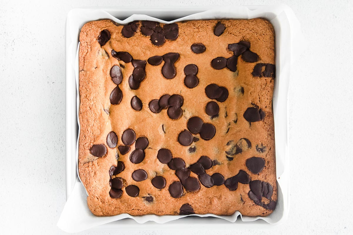cookie bars cooked in pan