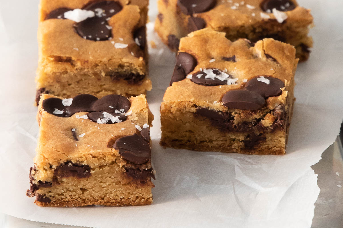 side view of chocolate chip cookie bars