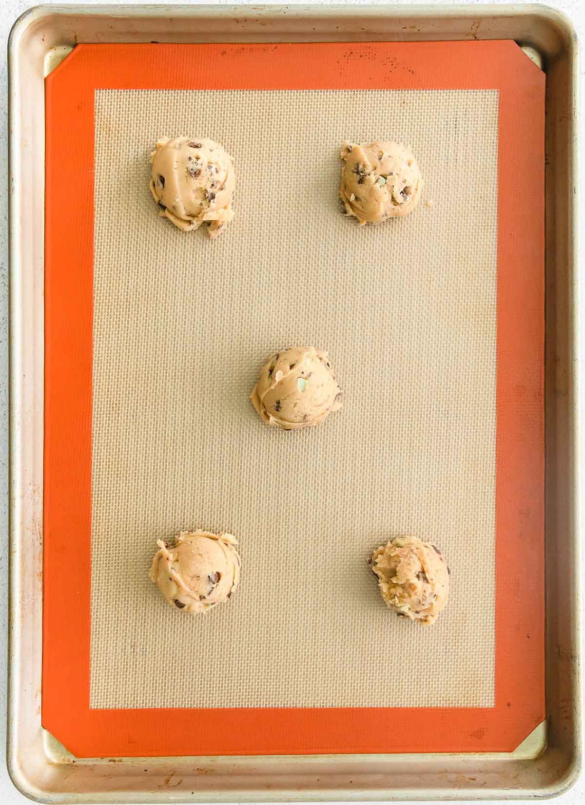 dough balls on pan