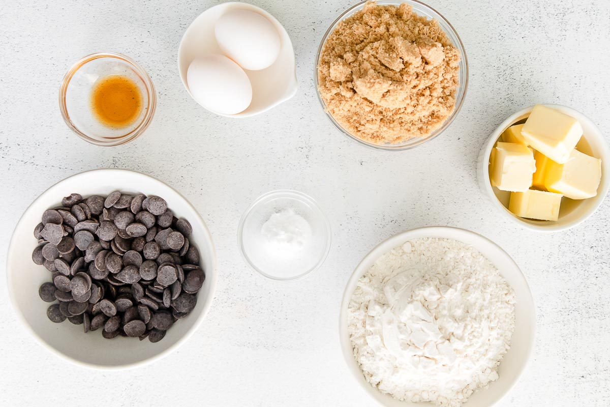 flour, eggs, brown sugar, chocolate chips, vanilla, butter, and baking soda